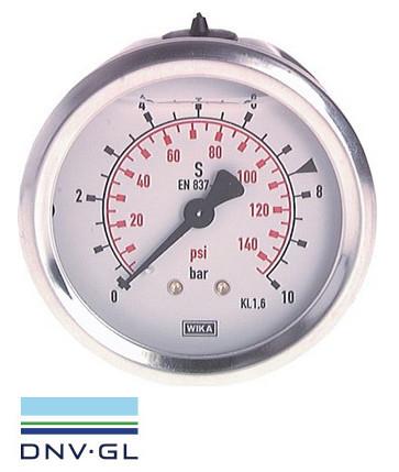 Pressure gauge Ø63 behind, glycerine, class 1.6 WIKA