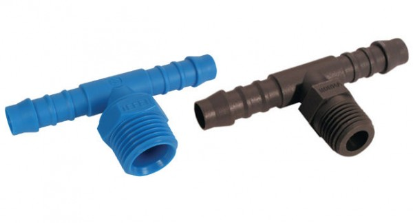 Tee hose connector for screwing in