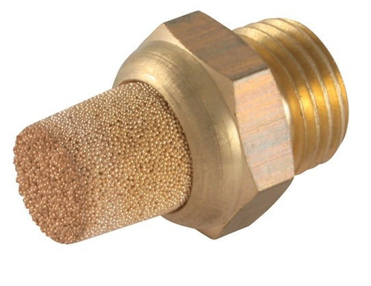 Silencer long made of sintered bronze with brass thread