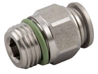Push-In fitting straight, male thread cylindrical (G) stainless steel