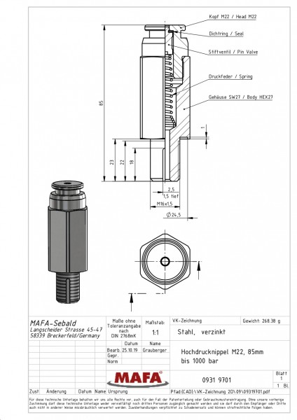 Length 85mm-HP-Button head grease nipple M16x1.5, head-ø22mm