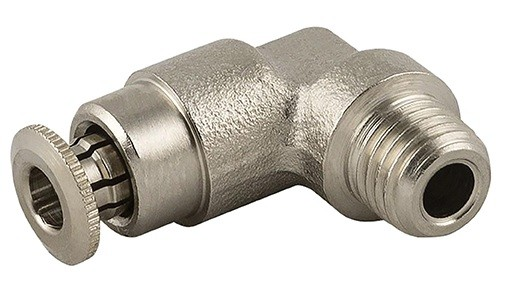 High pressure push-in fitting elbow, male thread conical (R) hose