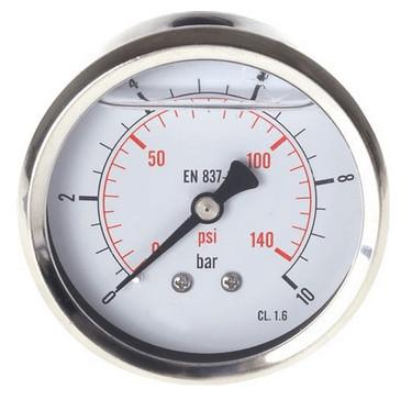 Pressure gauge Ø63 behind, glycerine, class 1.6 standard