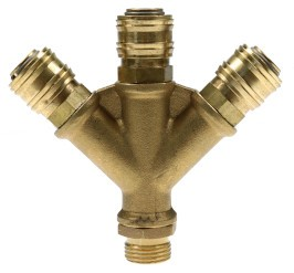 Y-Distributors 3-outlets male thread / 3x Socket