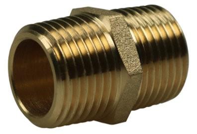 Twin-nipple BSPT cylindrical, brass
