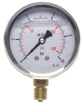 Pressure gauge Ø63 bottom, glycerine, class 1.6 standard