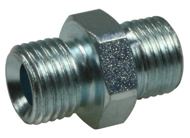 Twin nipple 1/4 steel, zinc plated