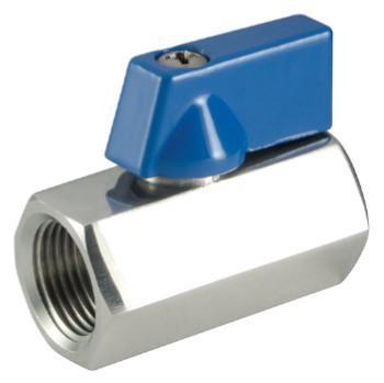 Mini ball valves made of stainless steel, blue