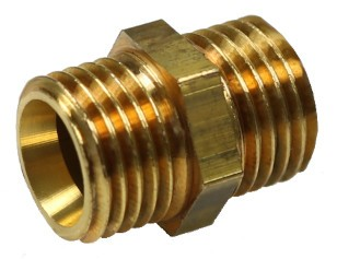 Brass twin-nipple both sides G1/4 HEX14