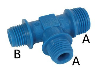 Tee-piece-3x female thread BSPT conical - reducing