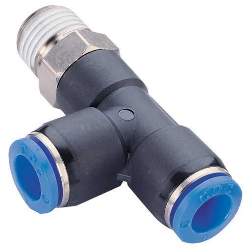 Push-In fitting lateral T, male thread conical (R) hose