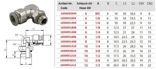 Steckverschraubung Winkel AG zylindrisch (G) Schlauch, Edelstahl