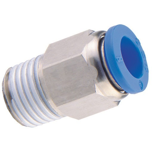 Push-In fitting straight , male thread conical (R) hose