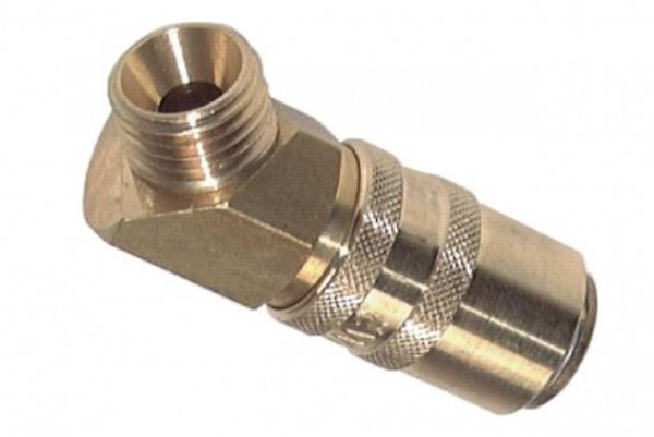 Mould coupling with male thread and 45° elbow
