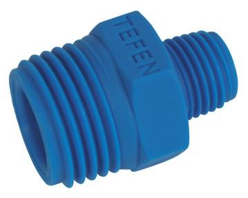 Twin nipple reducing plastic PA6.6, Blue
