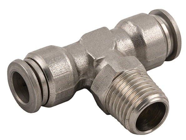 Push-In fitting T, male thread conical (R) hose, stainless steel