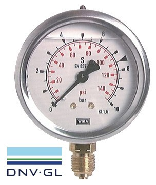 Pressure gauge Ø63 bottom, glycerine, class 1.6 WIKA