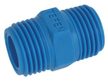 Doppelnippel aus Kunststoff PA6.6, Blau