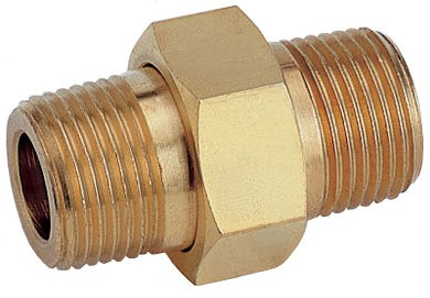 Twin nipple detachable in brass, steel and stainless steel