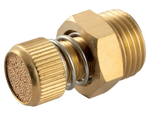 One-way flow silencer with spring force made of brass