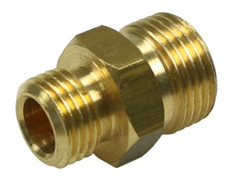 Brass twin-nipple G1/4-G3/8 without inner cone